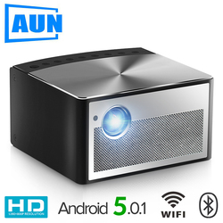 AUN Smart Projector H1, 1300 ANSI Lumens. Memory: 2G+16G. Build in Android, WIFI, HD in. MINI LED Projector. 1080P Home Theater