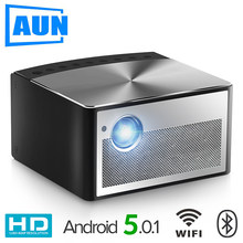 AUN Smart Projector H1, 1300 ANSI Lumens. Memory: 2G+16G. Build in Android, WIFI, HD in. MINI LED Projector. 1080P Home Theater(China)