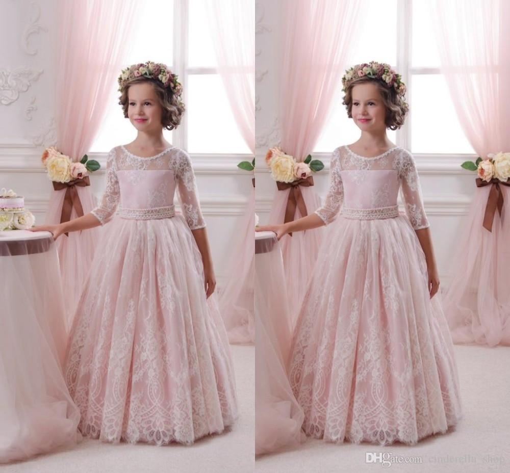 Lovely Pink Lace Half Sleeve O-Neck A-Line Cheap   Flower     Girl     Dresses   2017 Princess   Flower     Girl     Dress   vestidos de comunion 2017