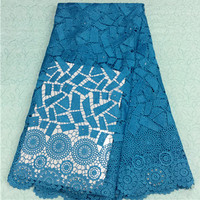 Free shipping !(5yards/pc) classical design African guipure lace fabric high quality lake blue cord lace for wedding dressWLS11
