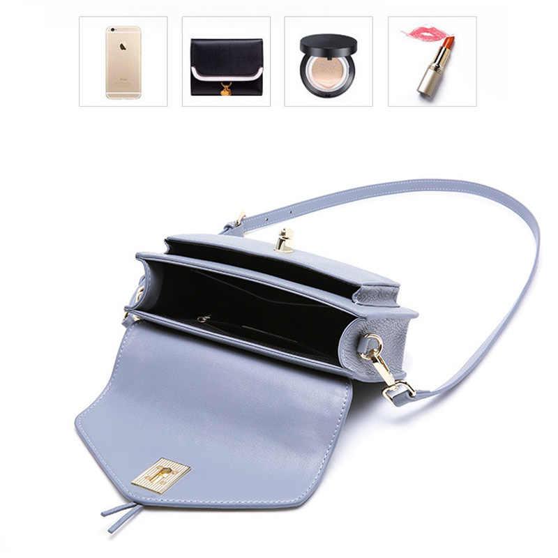 Zency простой дизайн женская сумка-тоут 100% натуральная кожа Модный черный Дамский кошелек через плечо высокое качество небольшие сумочки с клапаном синий