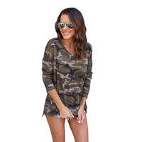 Fashion Camouflage Print T Shirt For Women Casual Round Neck Long Sleeve T Shirts 2017 Autumn