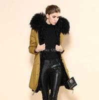 2015 Зимняя теплая куртка с большой реальный меховой воротник, реальный лампа лайнер желтый парка пальто, утепленная куртка заводская цена