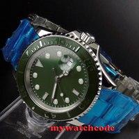 40mm bliger ירוק חיוג קרמיקה bezel ספיר קריסטל אוטומטי mens watch93