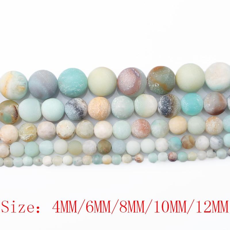 CAMDOE DANLEN Natural Stone Matt Frost Amazonite Round Pärlor 4 6 8 - Märkessmycken - Foto 3