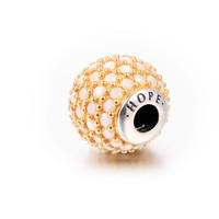 Essence Small Hole Beads Hope Charm Sterling Silver Jewelry Gold Plated Charms Fit 925 Sterling Silver