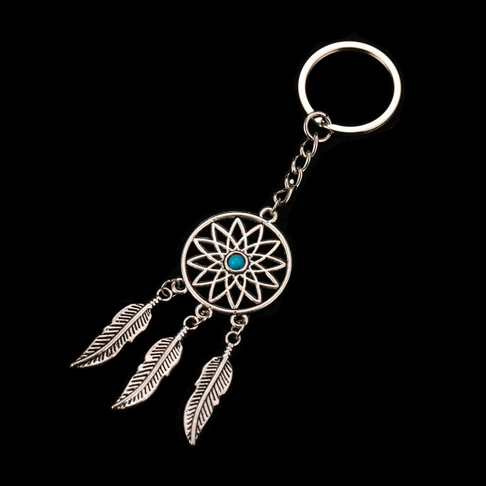 FAMSHIN Fashion Dream Catcher Tone Key Chain Silver Color Ring Feather Tassels Keychain Around The Waist Key Chain For Gift
