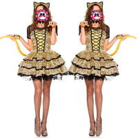 Abbille Hot Funny Tiger Cat Cosplay Animal Costume Women Halloween Carnival Party Game Outfits Sexy Adult