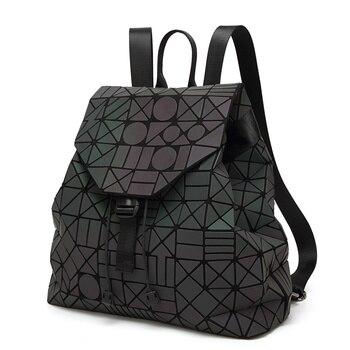 2017 Women Backpack Feminine Geometric Plaid Female School Bags For Teenagers Bagpack Drawstring Bag Holographic Black Backpack