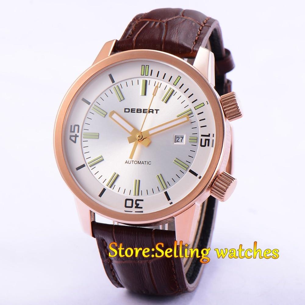 DEBERT 45mm white dial luminous gold case MIYOTA 821A Automatic men's watch debert 45mm white dial miyota 821a movement automatic date day mens watch