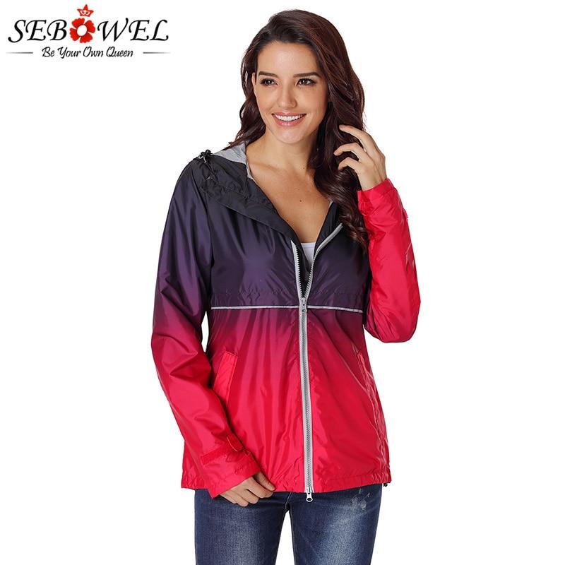 SEBOWEL Woman Gradient   Trench   Overcoat Maiden Windbreaker 2019 Autumn Spring Zipper Outerwear for Female Patchwork Hooded Coats