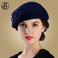 FS Winter 100% Wool Felt French Berets For Women Fashion Artist Boina Bow Hat Vintage Blue Fedora Gorras Planas Flat Cap Female