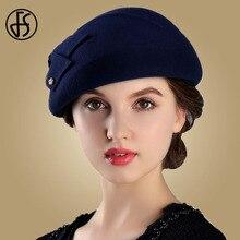 FS invierno 100% fieltro de lana francés para mujeres de moda artista Boina  arco sombrero azul Vintage Fedora a978779ec1f