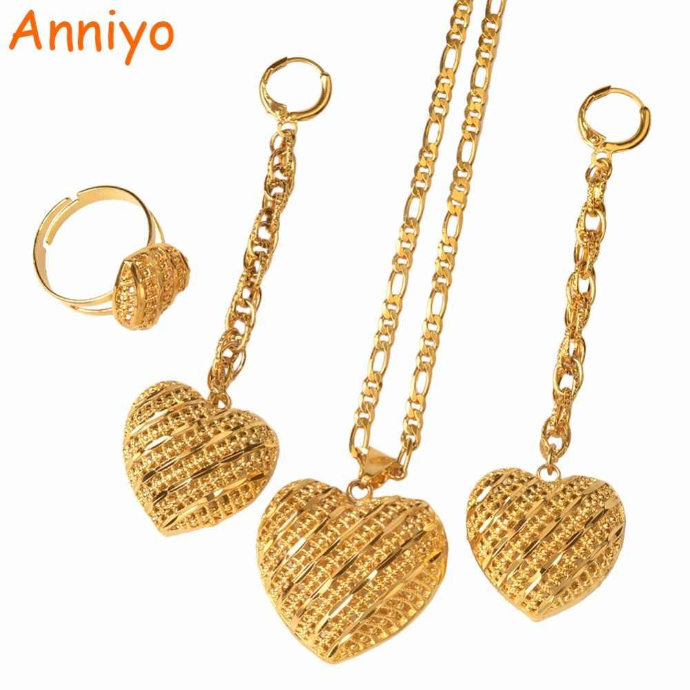 Anniyo ארוך זרוק להתנדנד לב שרשרת/עגילים/טבעת נשים זהב צבע אפריקאי תכשיטי סט לחתונה מסיבת יומי ללבוש #061906