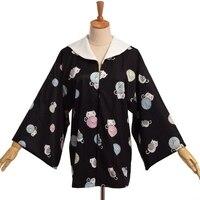 Kawaii gái cat và sợi bóng neko tai thủy thủ cổ áo yukata áo nhật bản kimono phong cách jacket outwear