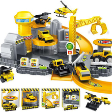 DIY Assembling Toys Engineering Car Parking Track Stitching Educational Automotive Construction car Lot Gift