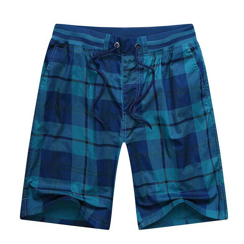Casual Shorts Yellow Big-Size Drawstring Elastic Cotton Summer Blue 4XL Plaid 3XL Men