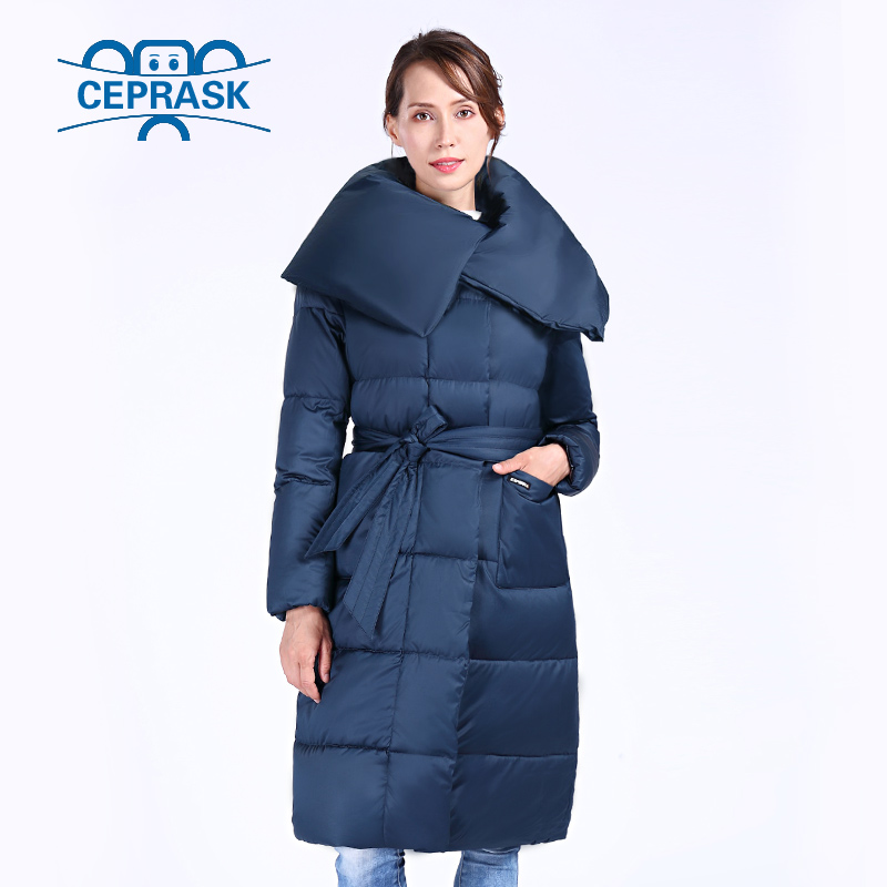 CEPRASK 2018 New High Quality Winter Jacket Women Plus Size X-Long With Belt Women's Thick   Parka   Winter Coat Hooded Down Jacket