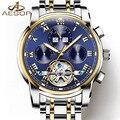 Lujo tourbillon reloj de acero Inoxidable de los hombres mecánicos Automáticos de Zafiro resistente al agua multifunción Romano reloj relogio masculino