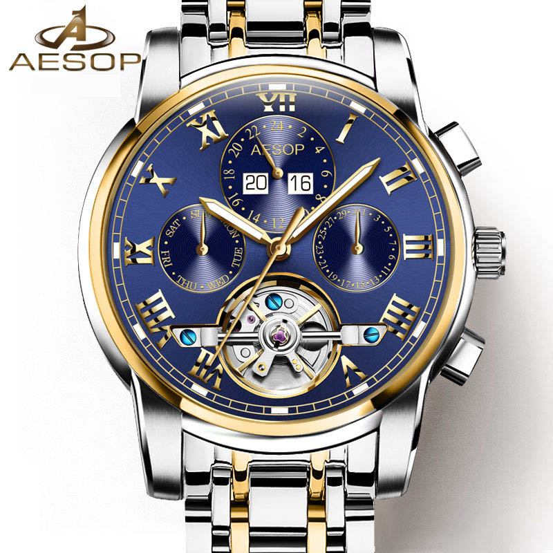 Luxury tourbillon watch men Stainless steel Automatic mechanical Sapphire waterproof multifunction Roman watch relogio masculino