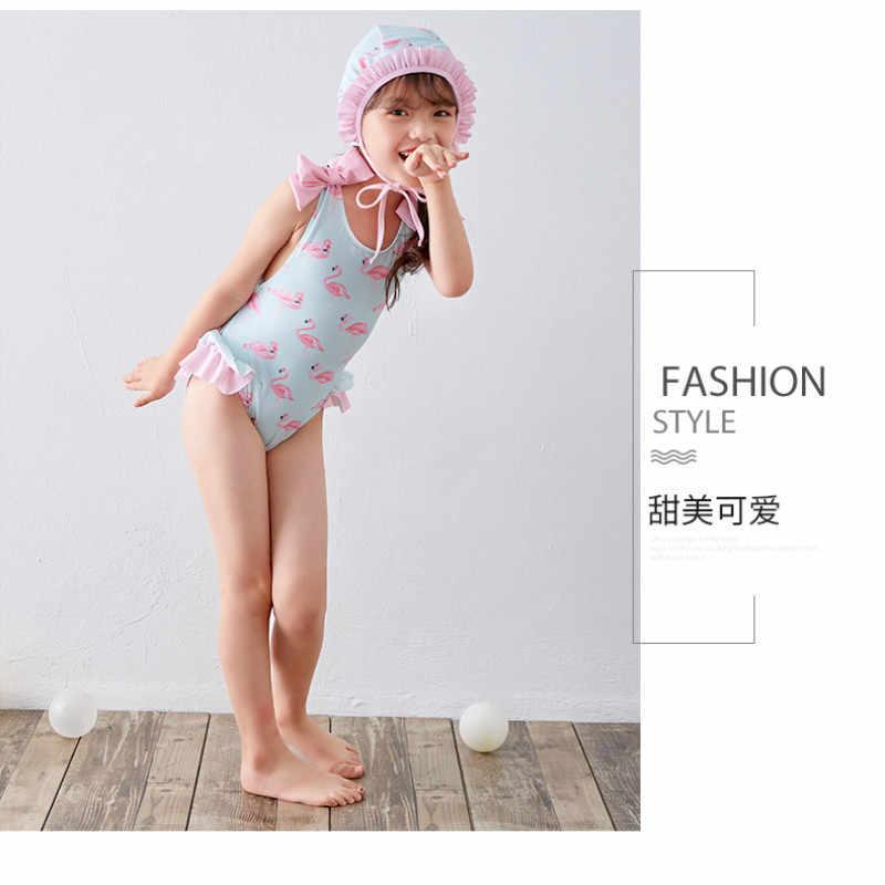 1dd0b6965f11c ... Funfeliz Flamingo Swimsuit Girls Swimming Cap Toddler Girl One Piece  Swim Suit Kids Cute Skirted Swimwear ...