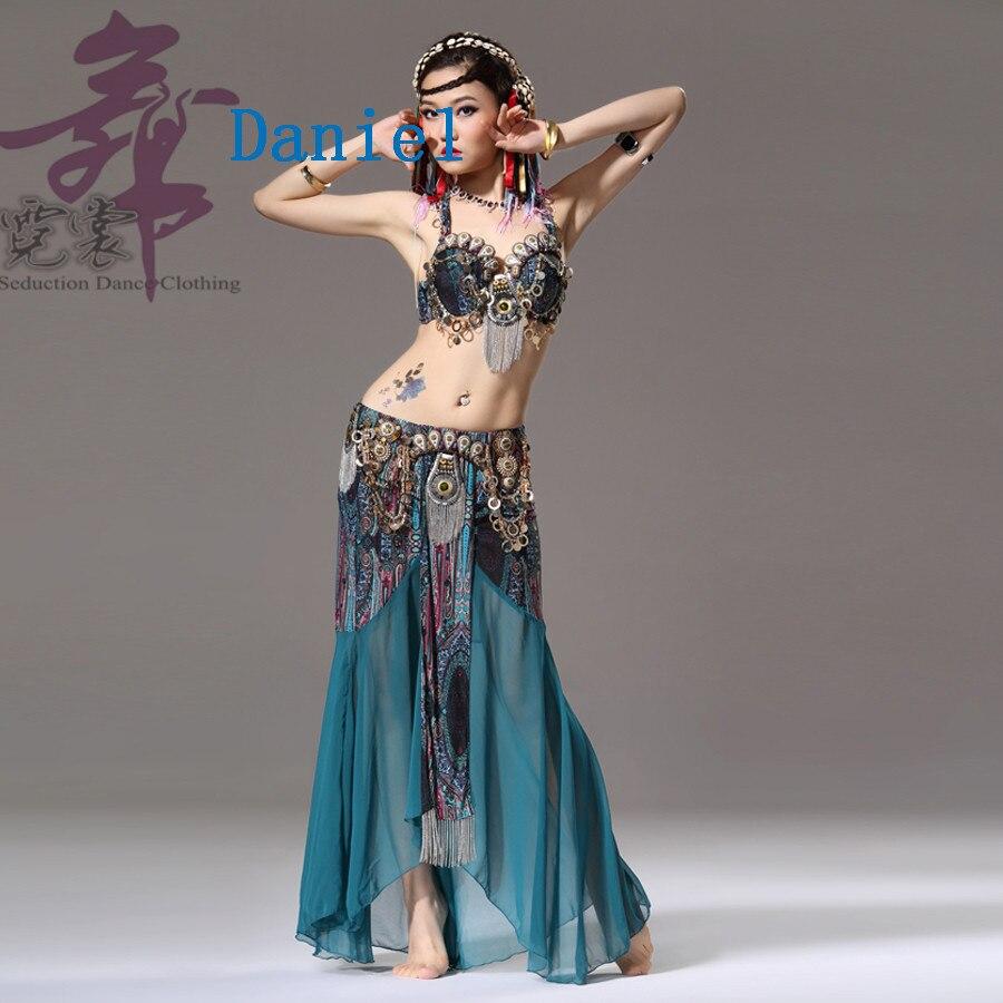 Arabian style tribal belly dance coin bra chiffon belly dance skirt 2 piece suit belly