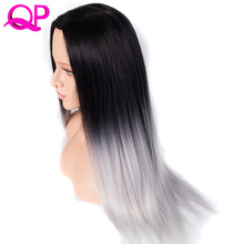 Qp hair 26Inch Synthetic Wig Cosplay Long Straight Heat Resistant Ombre 1b Silver Natural Wigs For Black Women