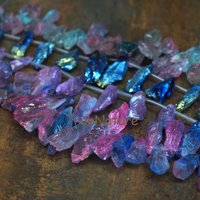 Bohemian Raw Crystal Quartz Stone Titanium Electroplated Slice Findings Top Drilled Stone Loose Strands In 35