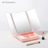 LED touch screen makeup mirror desktop dressing table storage box 7X magnifying glass desktop 3 folding adjustable mirror