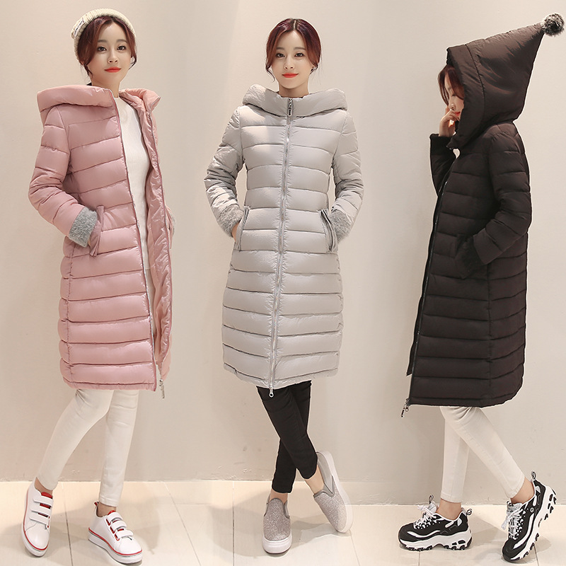 New Plus Size Winter Women Down Cotton Jacket Long Thicken Parkas Female Hooded Cotton Padded Fashion