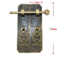 Brass Hardware Set Antique Wooden Box Latch Hasp+Pull Handle+Hinges+Bolts+Old Lock Furniture Accessories
