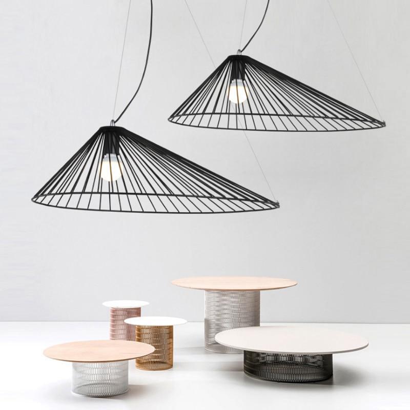 Modern minimalist straw hat hollow design E27 pendant lamp Nordic creative black ironlighting home decoration LED pendant light