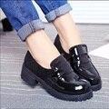 JK Japonês Sapatos Sapatos Meninas Do Ensino Médio de Couro Preto Rodada Festival de Animação COS Sapatos Sapatos de Cunha X507 Uniforme Da Empregada Doméstica 50