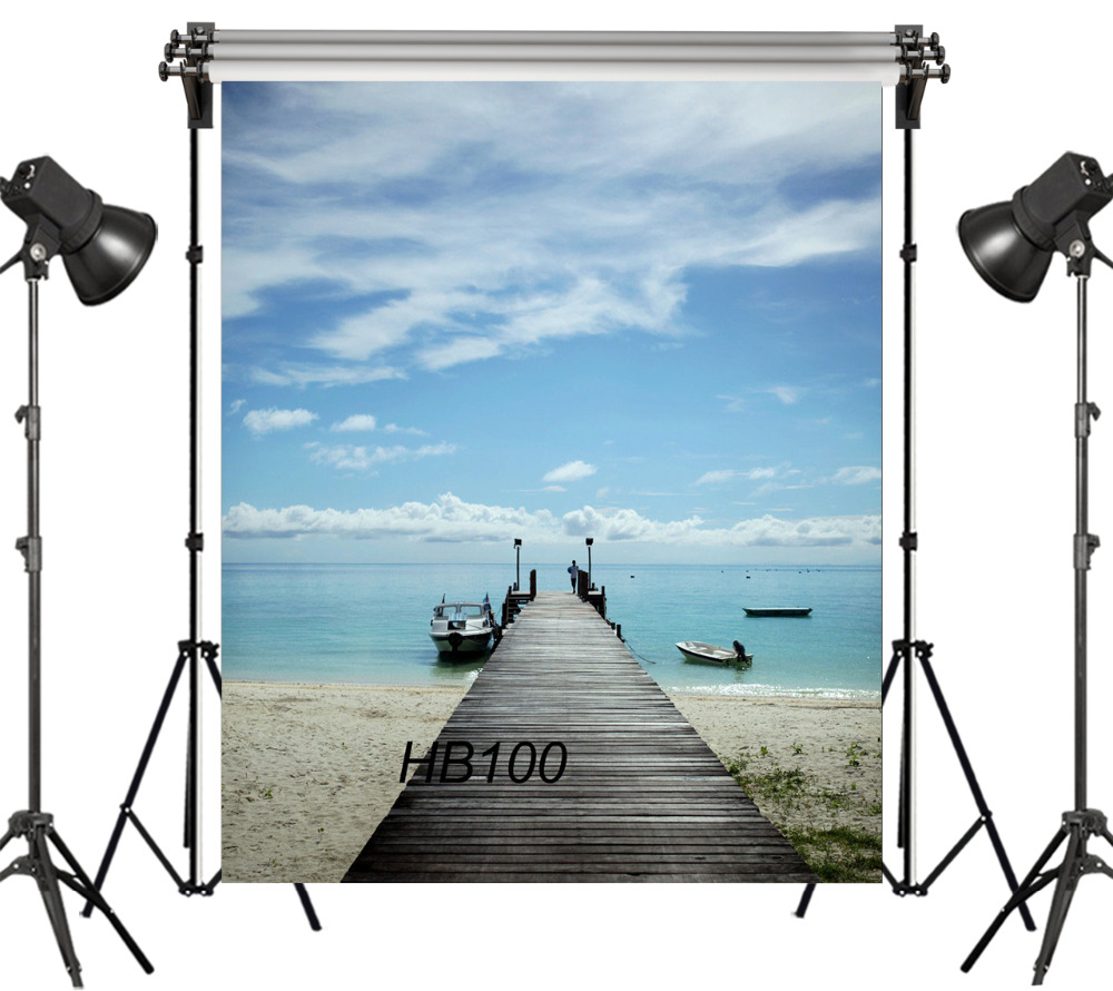 LB 5x7FT Fairytale Small Wooden Pier Ferry Beach Waterfront Scenery Seamless Washable No Folds Polyester Backdrop Background image
