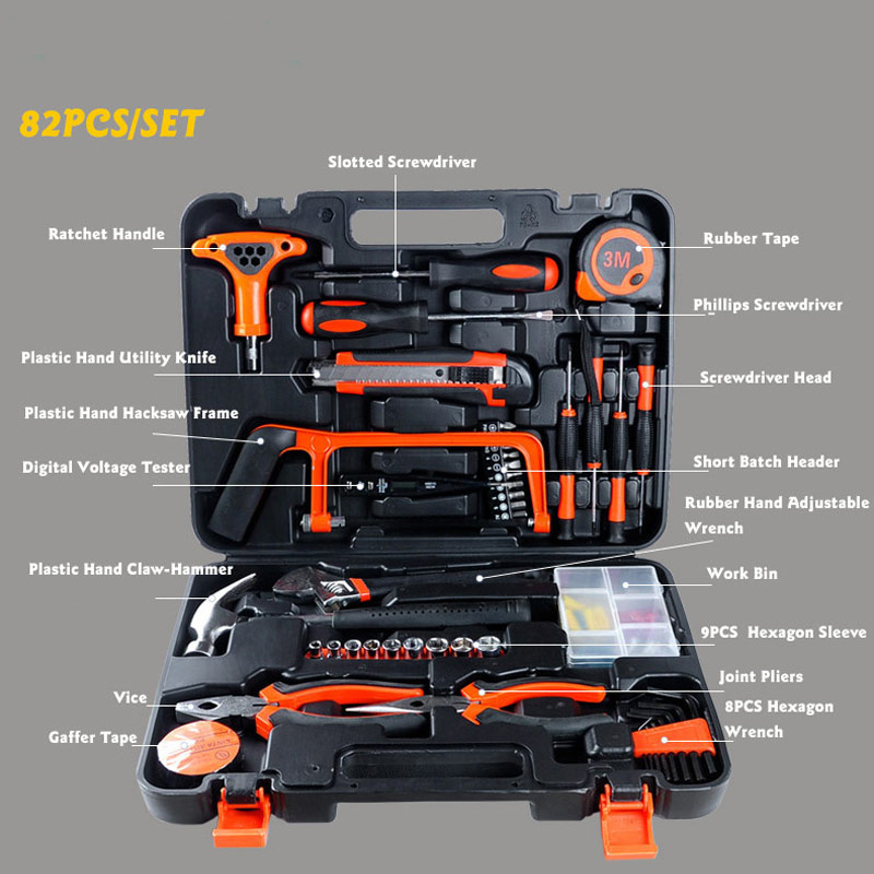 ET-DZ82 Professional Household-hardware Combination Tool Box Kit Packed Square 82 PCS Tools