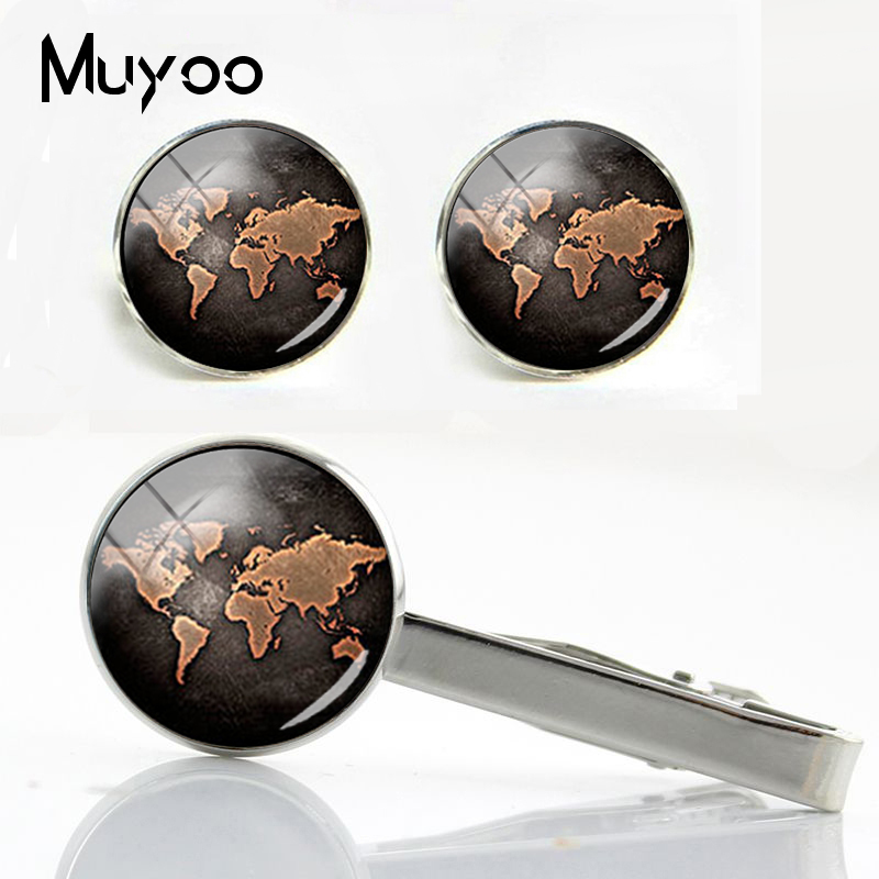 Button-Cuff-Sets Cufflinks Wedding-Gifts Silver Glass And Shirt Groom Men Maps Dome-Clips