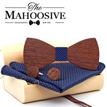 Wholesale Mahoosive Wood Bow Tie Mens Butterfly Cravat Party Ties For Men Wooden Bow Ties Gravatas Corbatas Special Link