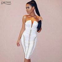 ADYCE 2017 New Summer Dress Sexy White V Neck Lace Up Hollow Out Celebrity Evening Party