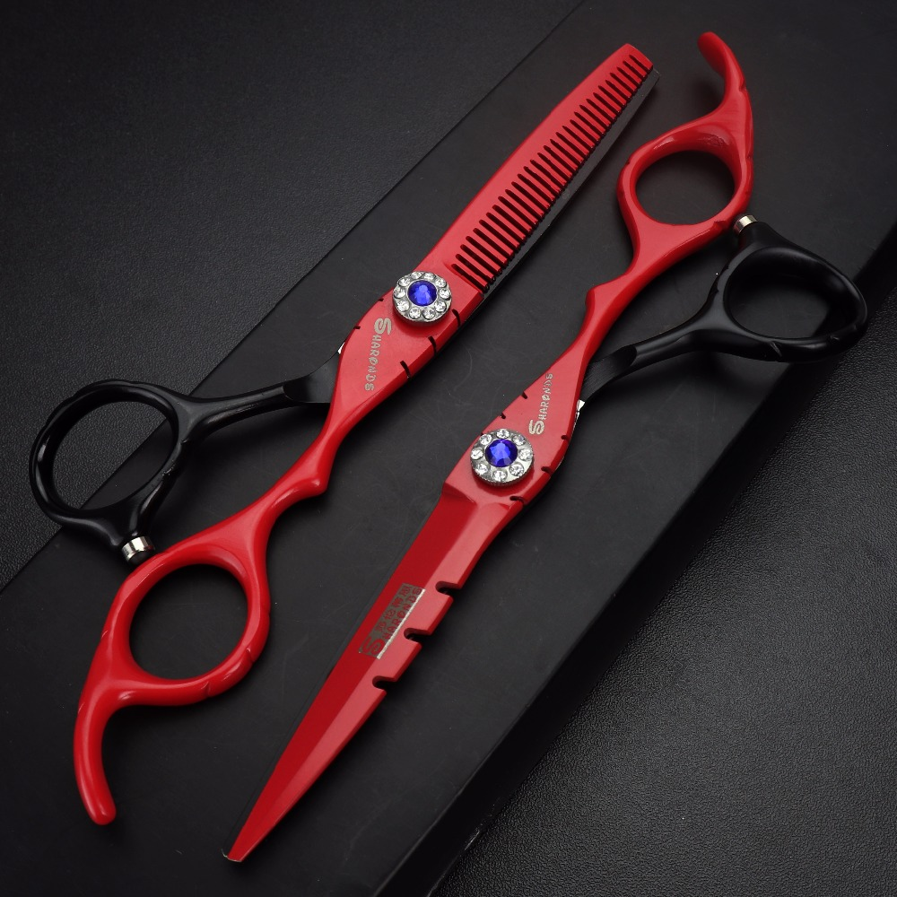6 inch Barber hair cutting dresser scissors professional thinning shears hairdressing scissors 440c Red Purple balck white in Hair Scissors from Beauty Health