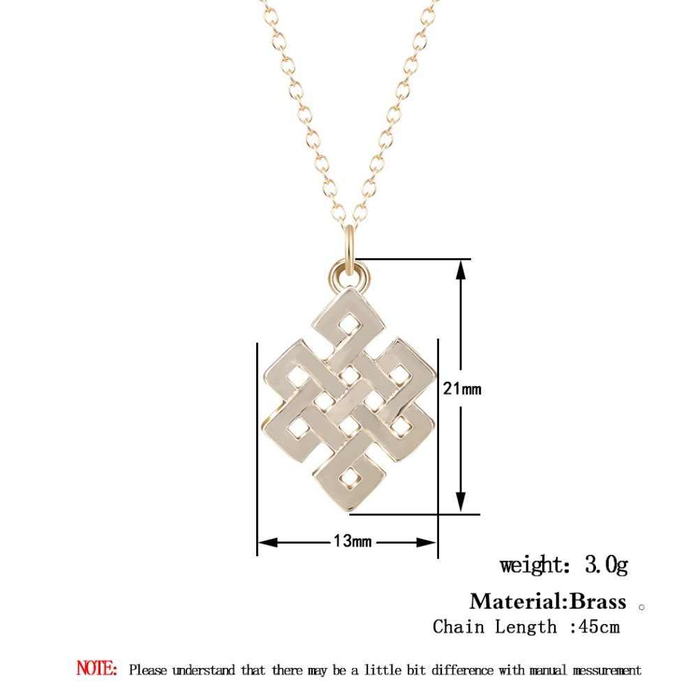 الأبدية قلادة لانهائي إنفينيتي عقدة هندسية مربع قلادة قلادة للنساء إكسسوارات فتيات مجوهرات عيد الميلاد