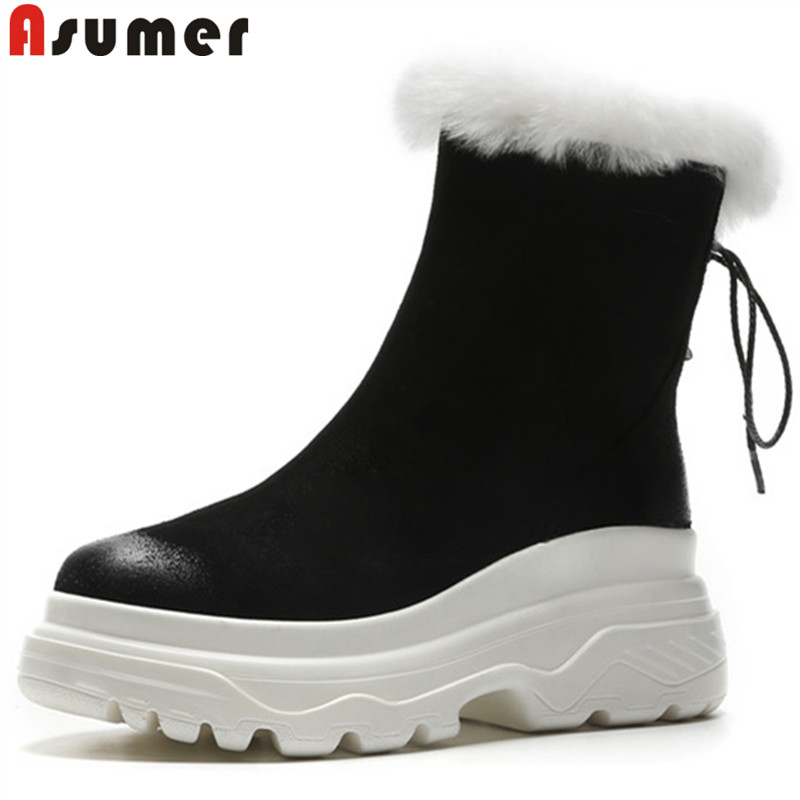 ASUMER 2018 hot sale new winter snow boots women round toe zip ankle boots flat platform suede leather boots keep warm shoes стоимость