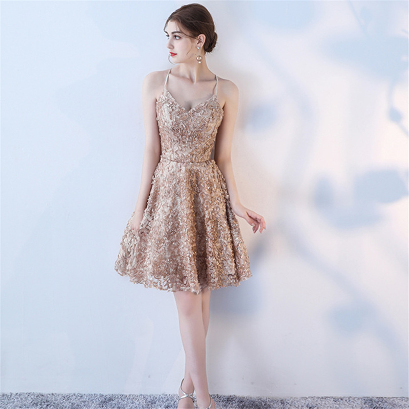 Cocktail     Dresses   Spaghetti Strap Criss-cross Sleeveless Party   Dress   Elegant Flowers Knee Length A-line Backless Prom Gowns E314