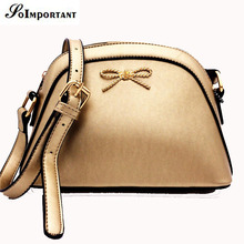 Women Bag New 2017 Solid Metal Bow PU Leather Women Shell Messenger Crossbody Bags Famous Brand Women Mini Small Shoulder Bags