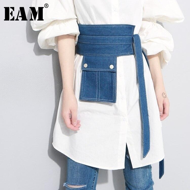[EAM] 2019 New Summer Pocket Split Joint Button Irregular Blue Denim Long Wide   Belt   Women Fashion Tide All-match JF134