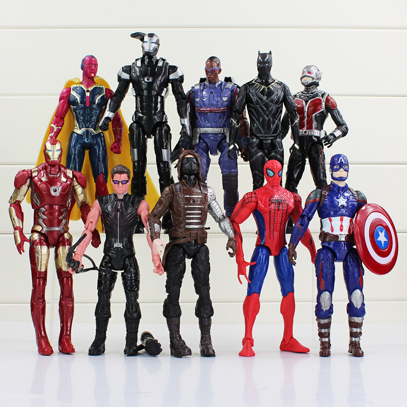 10pcs/lot Captain America Civil War Avengers Figures Iron Man Ant-Man Hawkeye Spiderman Toy PVC Dolls 16~18cm Great Gift #A