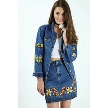 women jackets 2016 Autumn winter womens sweet embroidered jeans coat casual short Jackets girl's coat Denim jacket Slim Tops