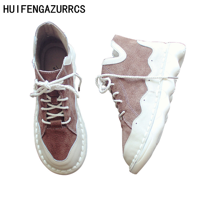 HUIFENGAZURRCS- Pure handmade Short boots, women's Genuine leather shoes,round head laces and ankle boots,women's short boots