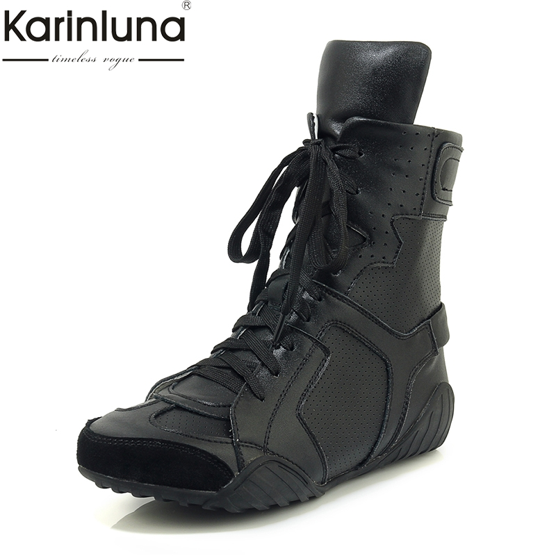 KarinLuna Genuine Leather lace-up Spring Autumn womens Classics Boots 2019 Brand New Fashion Mature womens ShoesKarinLuna Genuine Leather lace-up Spring Autumn womens Classics Boots 2019 Brand New Fashion Mature womens Shoes