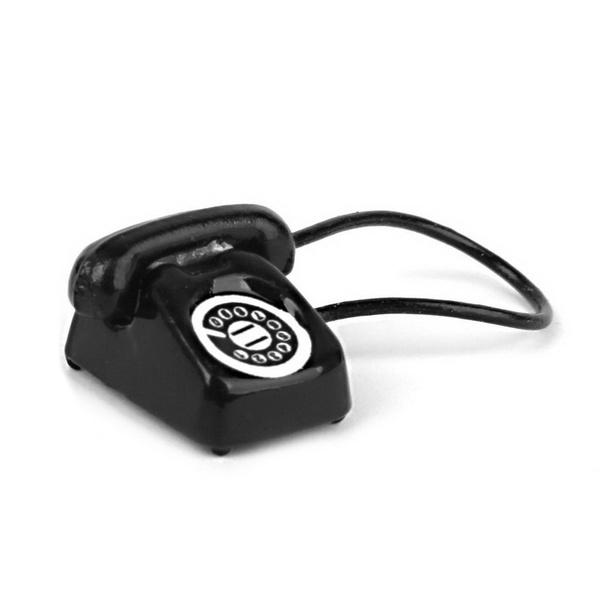 HOT SALE 1:12 Dollhouse Miniature Old fashioned Vintage Phone Telephone Black