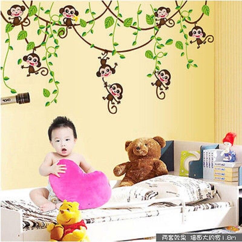 Cute Jungle Monkey Tree Vine Wall Stickers Vinyl Art Decals Kids ...